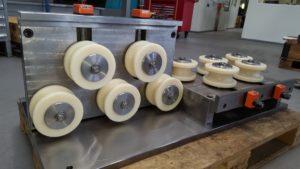Richtapparat mit Positionsanzeigen für die verstellbaren Rollen, diese sind gefertigt aus PAG 6