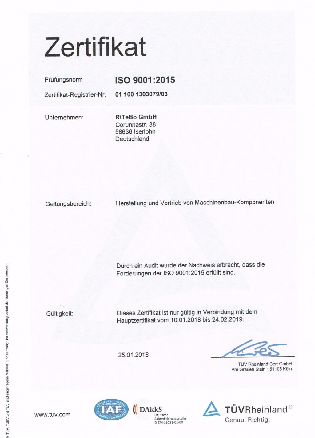 Zertifikat ISO 9001 / 2015